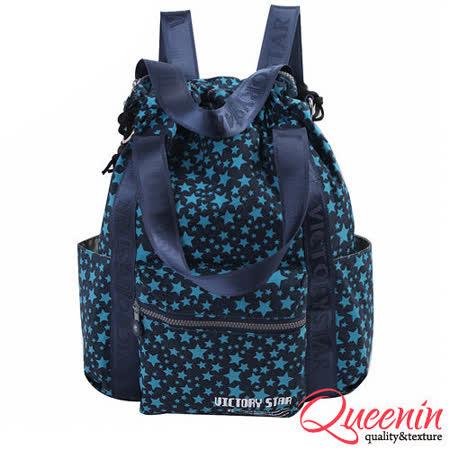 DF Queenin日韓 - 日系街頭藝術風多功能3用式後背包-滿天星辰