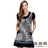 【麥雪爾】時尚豹紋假兩件式短洋裝
