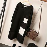 【Maya 無界限】針織綿料 v領大小黑白方塊組合 長袖長版上衣 歐美風十足-中大碼女裝