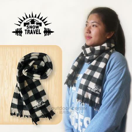 【SNOW TRAVEL】高級保暖透氣圍巾/下擺流蘇設計.高透氣.保暖/黑白格紋 VO-30