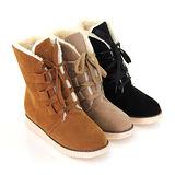 【Pretty】時尚甜美暖暖絨毛內裡綁帶短靴