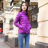 【Moscova】新款韓版輕薄修身立領百搭短款羽絨服棉衣外套-紫羅蘭色