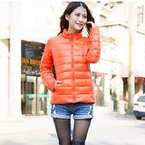 【Moscova】新款韓版輕薄修身立領百搭短款羽絨服棉衣外套-亮橘