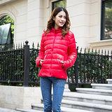 【Moscova】新款韓版輕薄修身立領百搭短款羽絨服棉衣外套-亮紅色