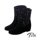 【T2R】奢華水鑽真皮內增高短靴7cm黑↑ 7cm 5600-0081