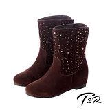 【T2R】奢華水鑽真皮內增高短靴7cm咖啡↑ 7cm 5600-0082