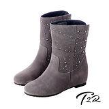 【T2R】奢華水鑽真皮內增高短靴 灰↑ 7cm 5600-0083