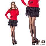 【麥雪爾】雙層荷葉蕾絲短裙-共二色