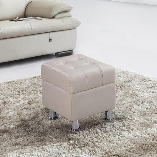 【幸福屋】巴比特1.3尺米白皮沙發椅凳