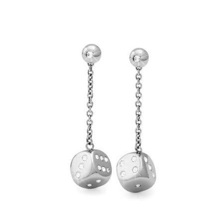 Brosway Chance 不鏽鋼銀色水鑽骰子耳環