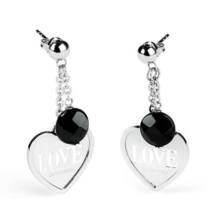 Brosway  Love Charm 黑瑪瑙單心不鏽鋼耳環