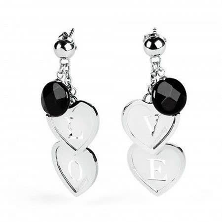 Brosway  Love Charm 黑瑪瑙雙心不鏽鋼耳環