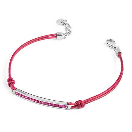 Brosway  Starlet 施華洛世奇元素白方鑽不鏽鋼桃紅細繩手鍊
