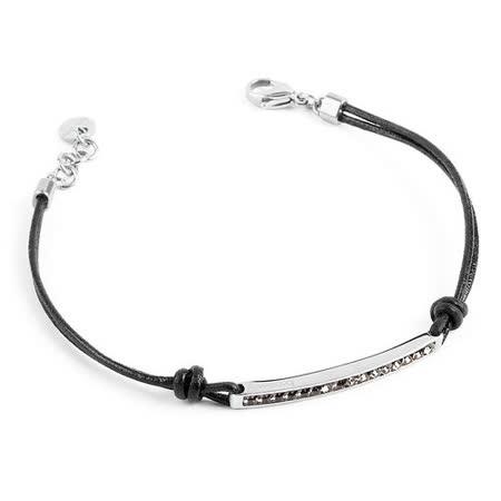 Brosway  Starlet 施華洛世奇元素不鏽鋼白方鑽黑細繩手鍊