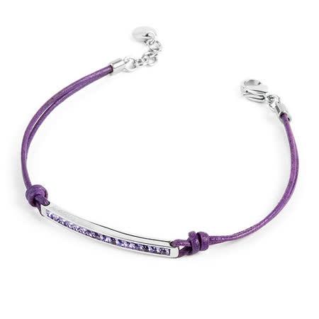 Brosway  Starlet 施華洛世奇元素白方鑽不鏽鋼紫細繩手鍊