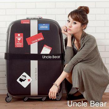 Uncle Bear 個性貼紙系列耐潑水28吋旅行箱 - 黑色