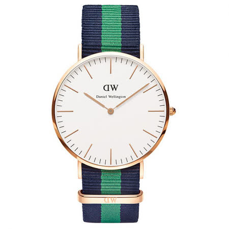 Daniel Wellington Warwick時尚男錶-/玫瑰金框/藍綠寬帶0105DW