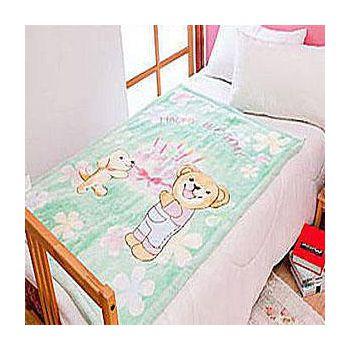 名流寢飾 生日蛋糕熊雙層超柔兒童毛毯被 100*140cm