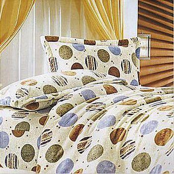名流寢飾 法萊絨薄被床包組-時尚圈點 雙人加大6*6.2尺