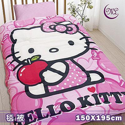 名流寢飾 Hello Kitty心蘋果樂園毛毯被 150*195cm