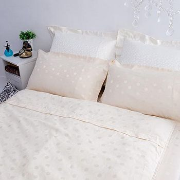 名流寢飾 精梳棉緹花兩用被床包組-圓米牽繫 雙人5*6.2尺