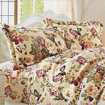 名流寢飾 法萊絨薄被床包組-深情花語 雙人5*6.2尺