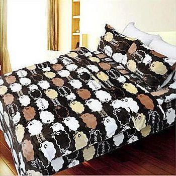 名流寢飾 法萊絨薄被床包組-快樂綿羊 雙人5*6.2尺