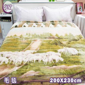 名流寢飾 綠綿羊群日本超極細合纖毛毯 200*230cm