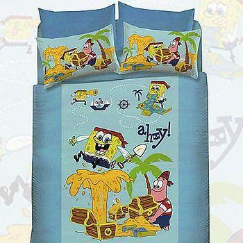名流寢飾 海綿寶寶兩用被床包組 雙人5*6.2尺