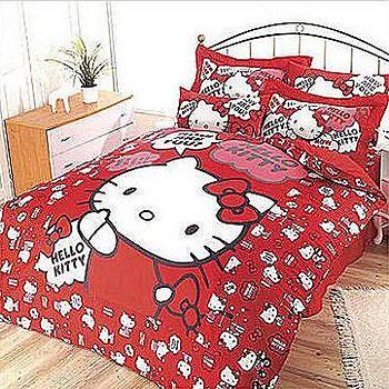 名流寢飾 Hello Kitty精梳棉兩用被床包組 雙人特大6*7尺