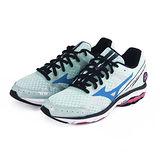(女)MIZUNO美津濃 WAVE RIDER 17 慢跑鞋 淺綠/黑/藍-J1GD140331