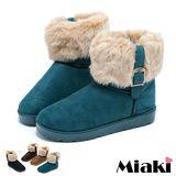 【Miaki】卡哇尹不敗毛絨厚底雪靴短靴 (黑色 / 咖啡 / 綠色 / 黃色)