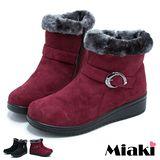 【Miaki】韓版超人氣厚底舖綿短靴雪靴 (黑色 / 紅色)