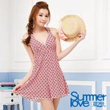 【SUMMERLOVE 夏之戀】復古時尚連身褲裙二件式泳衣E14705