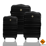 Gate9 時尚經典橫紋系列~PC亮面輕硬殼行李箱三件組-時尚黑