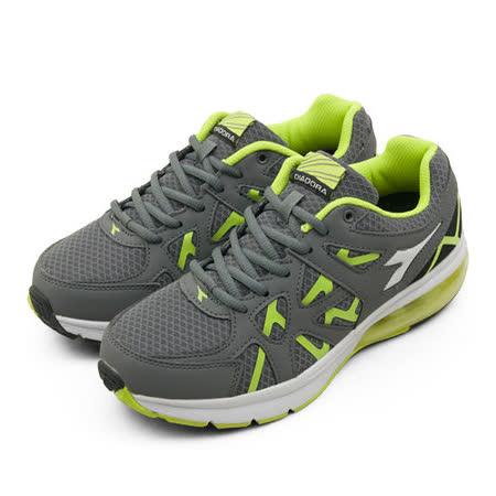 男 DIADORA  專業慢跑鞋 氣墊系列 灰綠 9908
