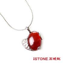 石頭記 白鋼紅瑪瑙項鍊-幸福紅豆