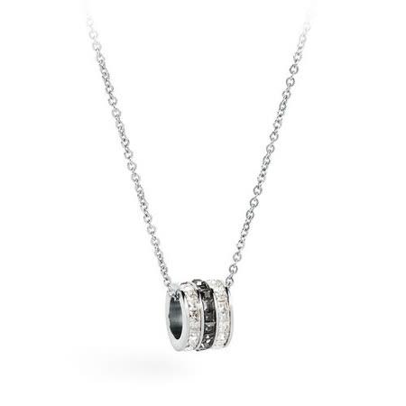 Brosway Trinique 白/黑/白色施華洛世奇鑽3戒指不鏽鋼項鍊