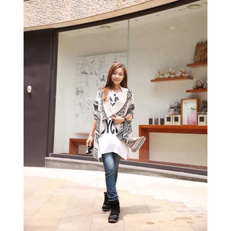 【韓系女衫】 民族風情寬鬆不規則修身針織披肩外套