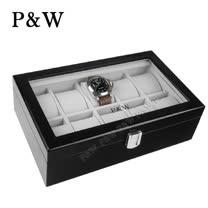 【P&W名錶收藏盒】【玻璃鏡面】 鋼琴烤漆 手工精品木盒 10只裝錶盒