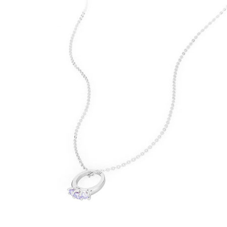 Brosway Promise 3紫鑽戒指墜子925純銀項鍊