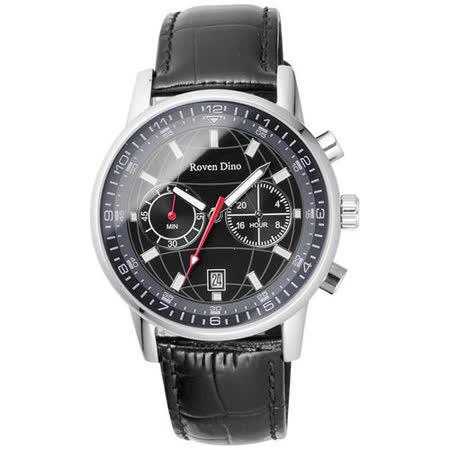 Roven Dino羅梵迪諾 神秘元素地球紋雙眼計時腕錶-黑