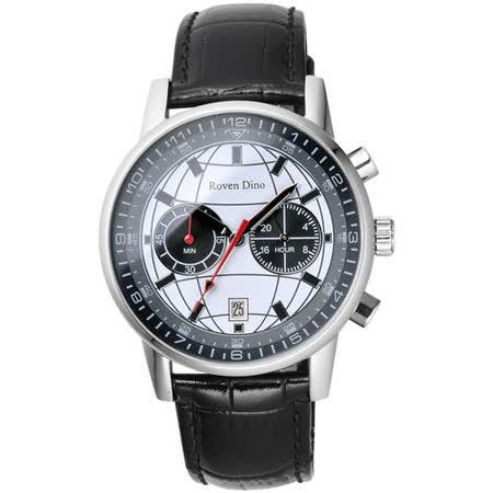 Roven Dino羅梵迪諾 神秘元素地球紋雙眼計時腕錶-白