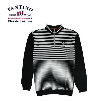 【FANTINO】男裝 經典線條polo衫 (黑.桔)341342-341343