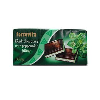 波蘭Terravita薄荷黑巧克力片100g