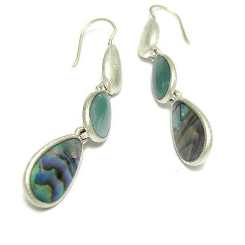 LIZ claiborne 蔚藍珠母貝垂墬耳環LIZe740