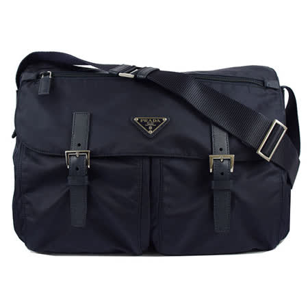 PRADA  經典LOGO尼龍帆布皮飾邊雙扣大斜背包.深藍