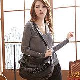【MOROM】時尚簡約率性拼接羊皮包(黑色)1082