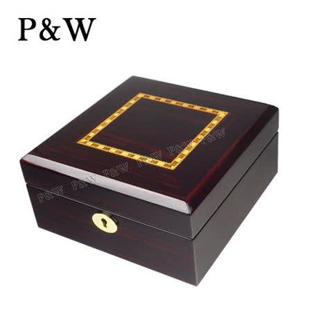 【P&W名錶收藏盒】【鋼琴烤漆】黑檀木紋 手工精品木盒 6只裝錶盒