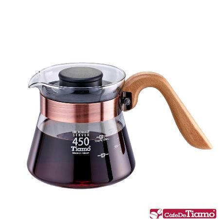 Tiamo 耐熱玻璃壺-木柄把手 450cc (ST古銅色束環) HG2199